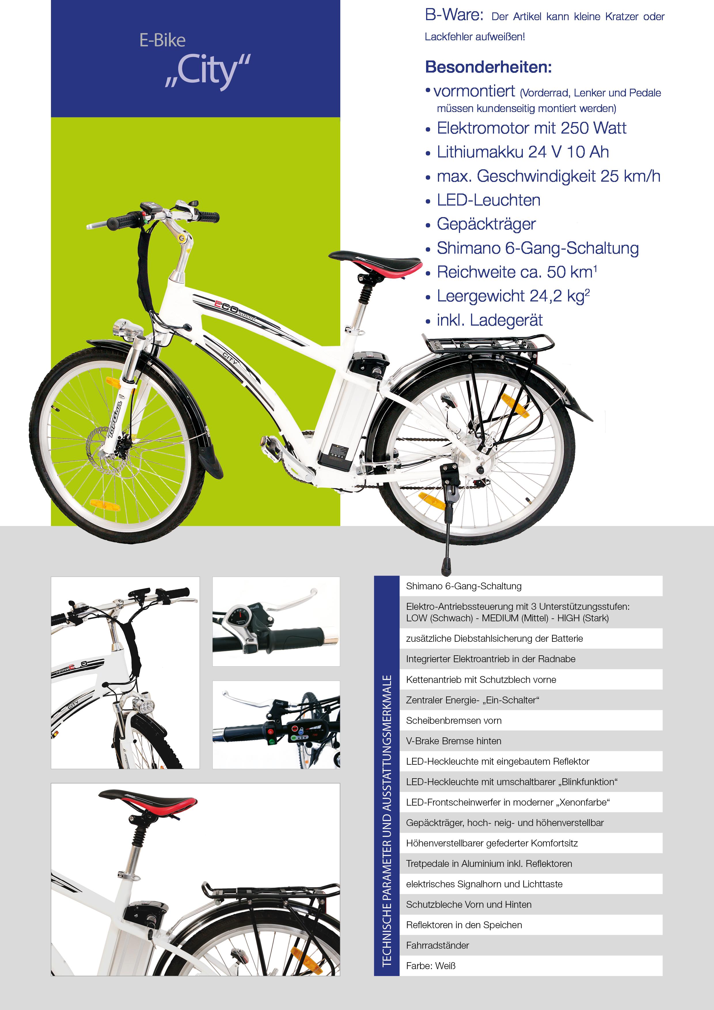 elektrofahrrad e bike pedelec city 250w 25km h 6 gang. Black Bedroom Furniture Sets. Home Design Ideas